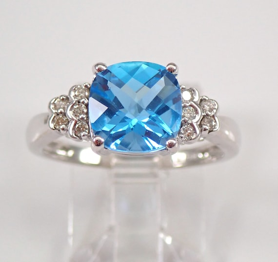 14K White Gold Diamond and Cushion Cut Blue Topaz Engagement Ring Size 7 December Birthstone FREE Sizing