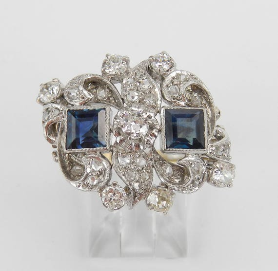 Antique Art Deco Diamond and Sapphire Ring 14K Yellow Gold and Platinum Size 5.5
