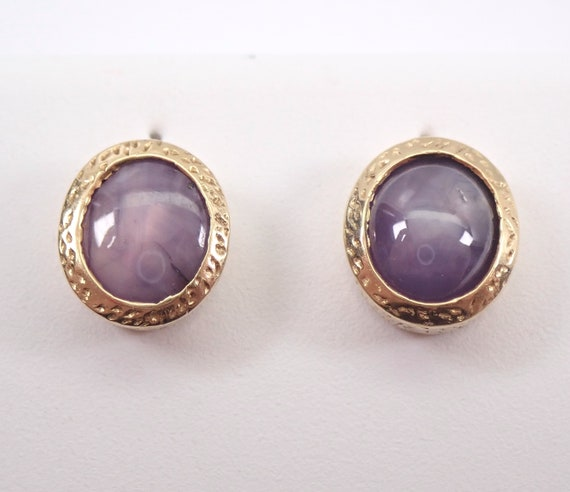 Antique Vintage 14K Yellow Gold Purple Star Sapphire Stud Earrings Bezel Set Studs