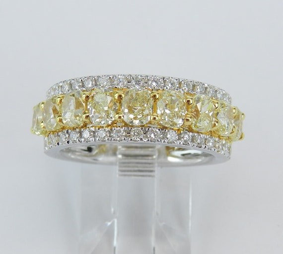 2.94 ct Fancy Yellow CANARY Diamond Wedding Ring Anniversary Band Cushion Cut 18K Gold
