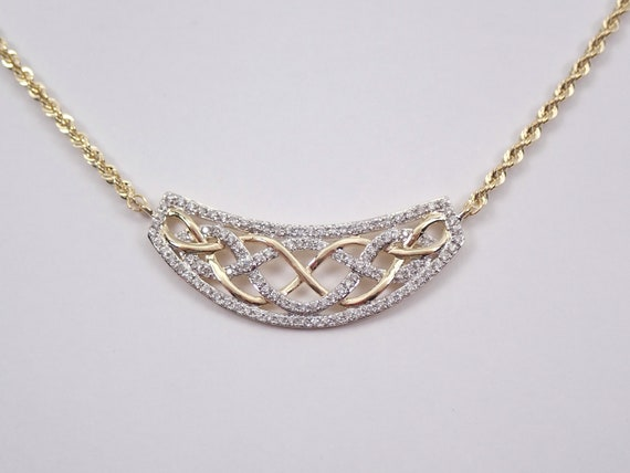 Diamond Necklace Celtic Weave Pendant 14K Yellow Gold Wedding Gift Rope Chain 17""