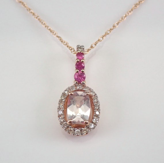 "Rose Gold Morganite Ruby and Diamond Halo Pendant Necklace 18"" Chain Wedding Gift"