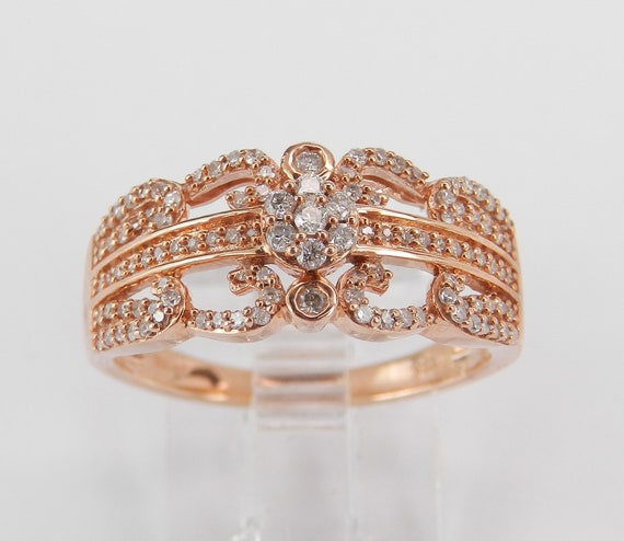 Diamond Cluster Ring Flower Anniversary Band Rose Gold Wedding Ring Size 7 FREE Sizing