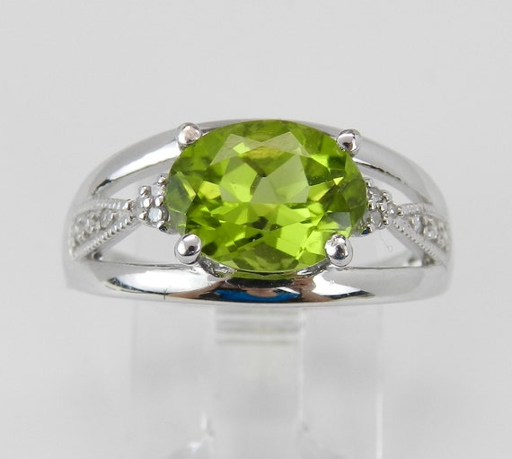 SUPER SALE! Diamond and Peridot Ring White Gold Ring 1.60 ct Engagement Ring Promise Ring Green Size 6.75 FREE Sizing
