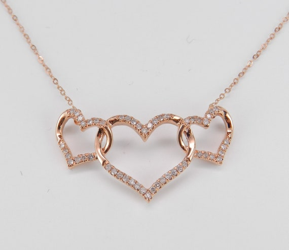 "14K Rose Gold Diamond Heart Necklace 17.5"" Chain Three Hearts Triple Love"