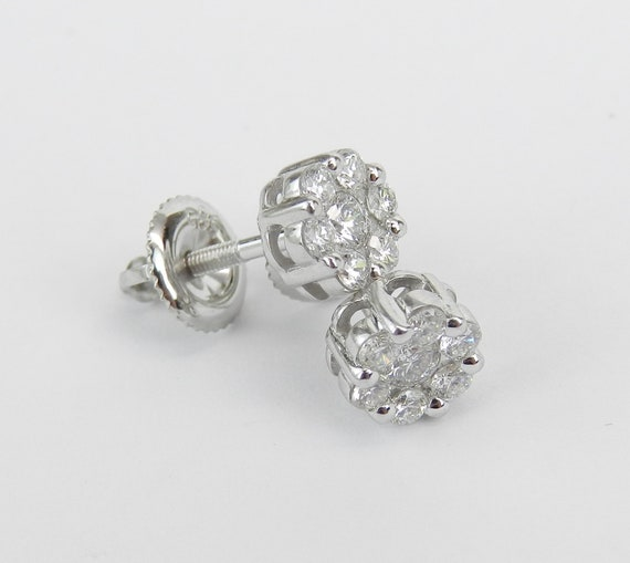 14K White Gold 1.00 ct Diamond Studs Flower Cluster Halo Stud Earrings Screw Backs Wedding Gift