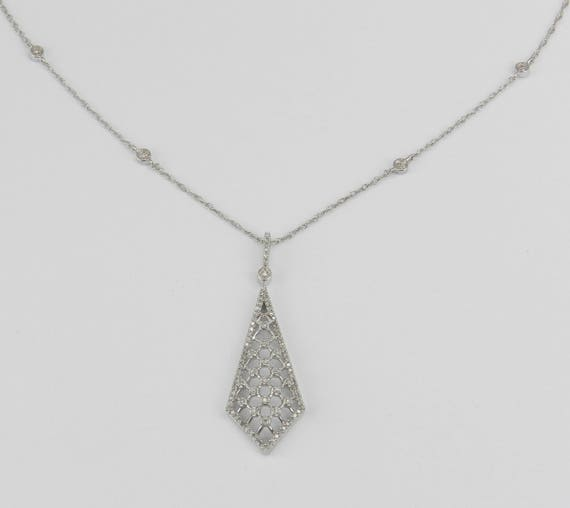 "Diamond Lattice Necklace Pendant White Gold Chain 18"" Unique Wedding Necklace"