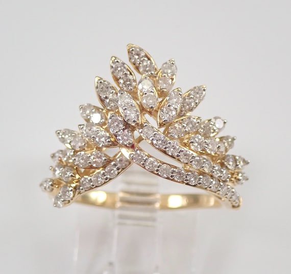 1.00 ct Diamond Cluster V Chevron Cocktail Ring Yellow Gold Fashion Ring Size 7 FREE Sizing