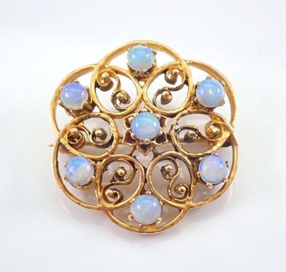 Vintage Antique 14K Yellow Gold Opal Circle Cluster Brooch Pin Circa 1960's