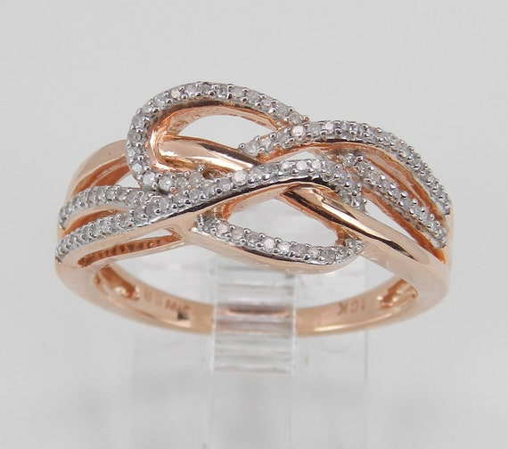 Rose Gold Diamond Cocktail Ring Anniversary Crossover Band Love Knot Size 6.25