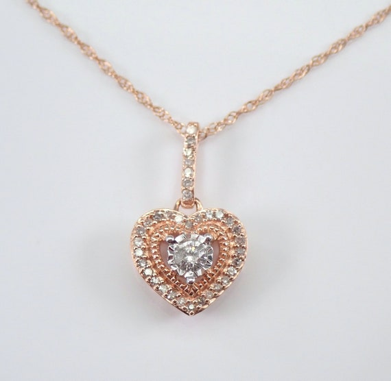 "Rose Gold Diamond Heart Pendant Necklace 18"" Chain Wedding Gift Charm Present"
