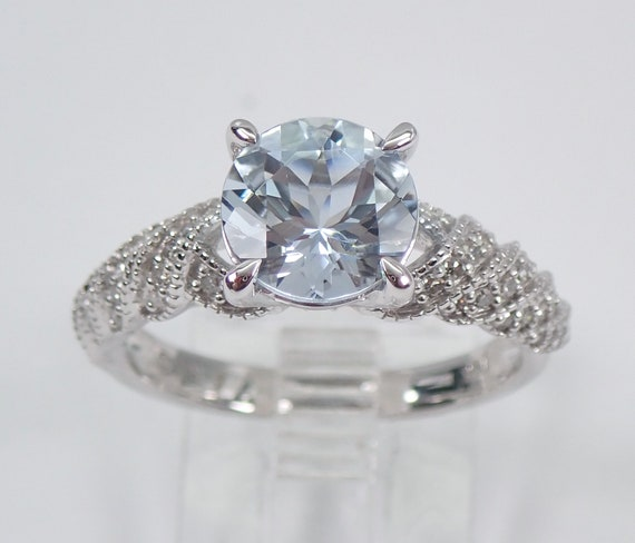 Diamond and Aquamarine Engagement Ring Aqua 14K White Gold Size 7 March Gemstone