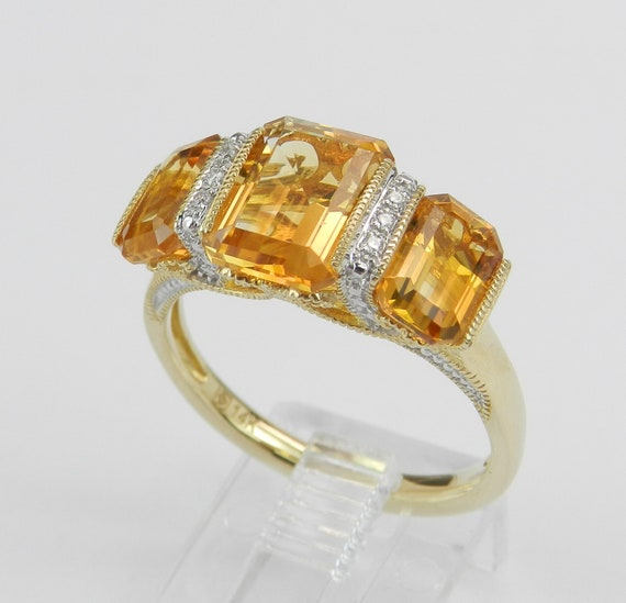 14K Yellow Gold Citrine and Diamond Three Stone Engagement Ring Size 7 FREE SIZING