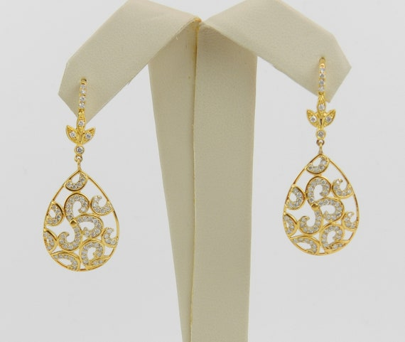 14K Yellow Gold Diamond Dangle Drop Earrings Wedding Gift Unique Leverback Clasps