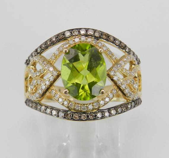 14K Yellow Gold Peridot Ring, Diamond and Peridot Engagement Ring, Wide Cocktail Ring, Size 7, August Birthstone
