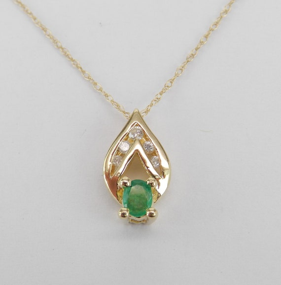 """Diamond and Emerald Pendant 14K Yellow Gold Necklace 18"""" Chain May Birthstone"""