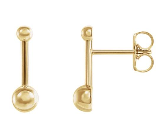 14K Gold Ball and Bar Stud Earrings Great Gift Bridesmaids Present Christmas Gift