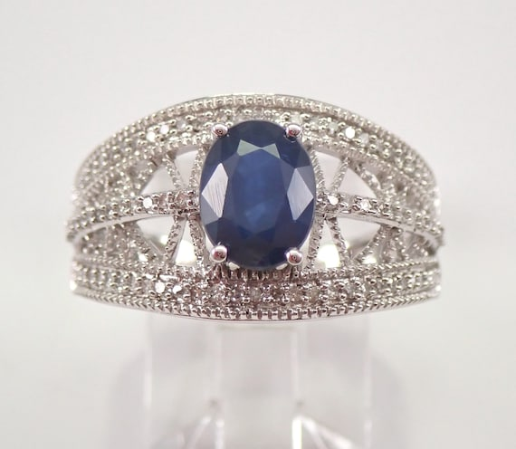 14K White Gold 1.85 ct Diamond and Sapphire Wide Engagement Ring Size 7 FREE Sizing