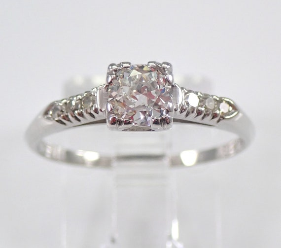 Antique Art Deco Platinum Old Miner Diamond Engagement Ring Natural Size 6.5