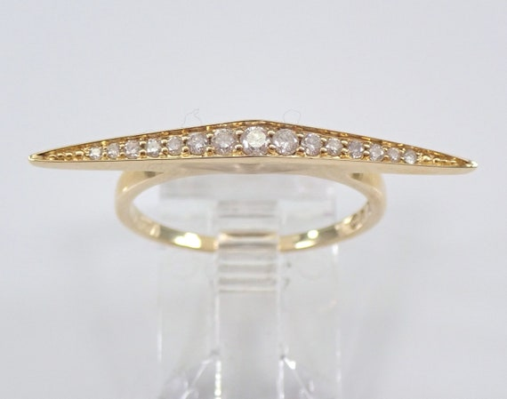 14K Yellow Gold Diamond Ring East West Bar Design Stackable Minimalistic Look FREE Sizing