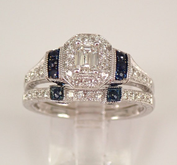 14K White Gold Emerald Cut Diamond Engagement Wedding Ring Band Set Sapphire G VS2 Free Sizing