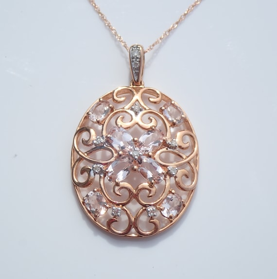"Morganite and Diamond Cluster Filigree Necklace Pendant Rose Pink Gold 18"" Chain"