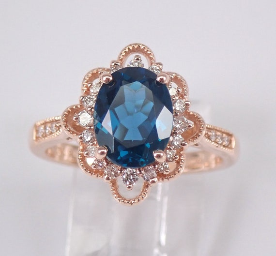 Oval London Blue Topaz and Diamond Engagement Ring 14K Rose Gold Size 6.75 December Birthstone