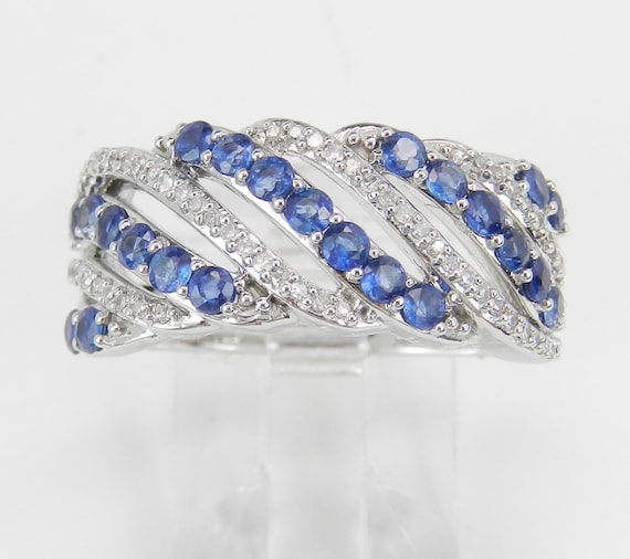 14K White Gold Diamond and Sapphire Anniversary Band Cluster Wedding Ring Size 7