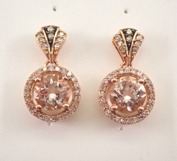 2.35 ct Round Morganite and Diamond Halo Drop Earrings 14K Rose Gold Unique Gift