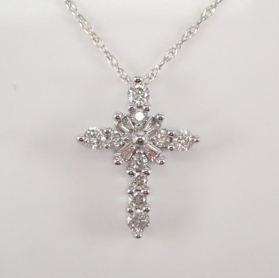 "14K White Gold Diamond CROSS Pendant Necklace Petite Religious Charm 18"" Chain"