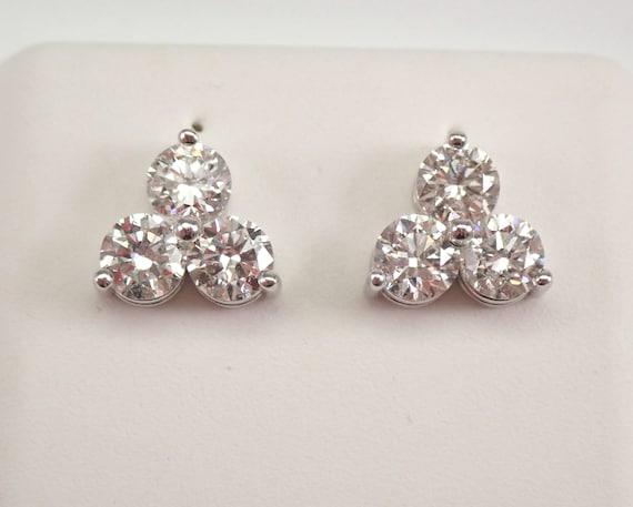 14K White Gold 1.62 ct Diamond Stud Earrings Round Brilliant Studs Three Stone Stud Past Present Future