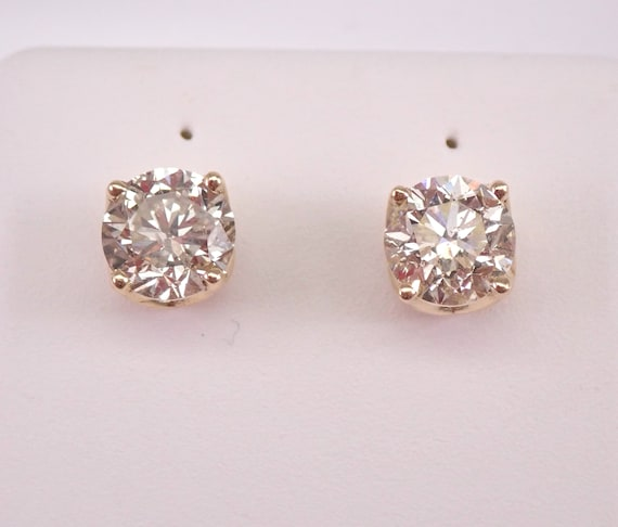 14K Yellow Gold 1.91 ct Diamond Stud Earrings Round Brilliant Studs