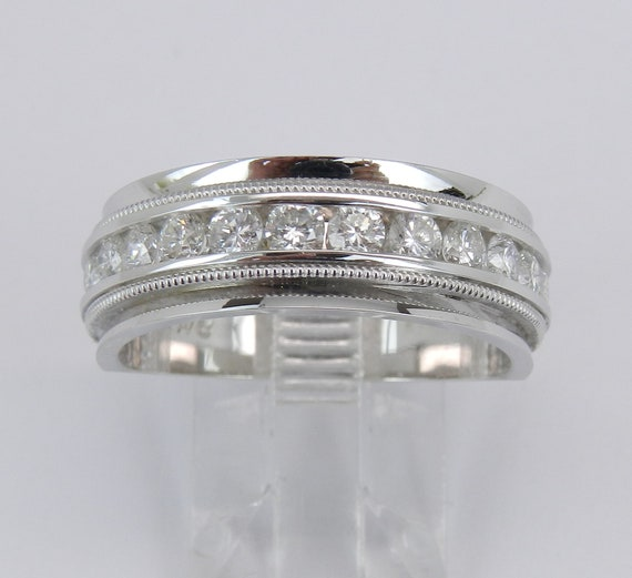 Men's 1.00 ct Diamond Wedding Ring Anniversary Band set in 14K White Gold Size 10.75
