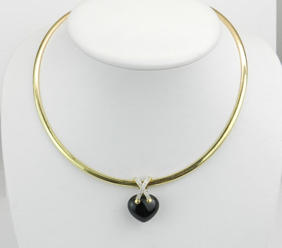 Omega Necklace, 14K Yellow Gold Omega Choker, Diamond and Onyx Slide, Heart Pendant, Black Onyx Heart