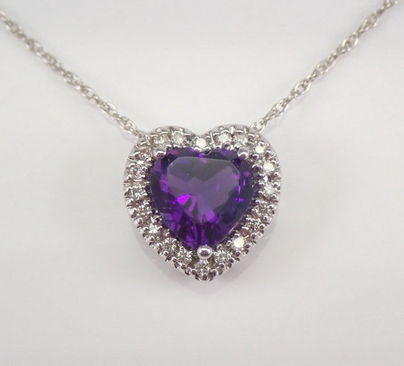 """White Gold Diamond and Heart Amethyst Halo Pendant Necklace 18"""" Chain"""