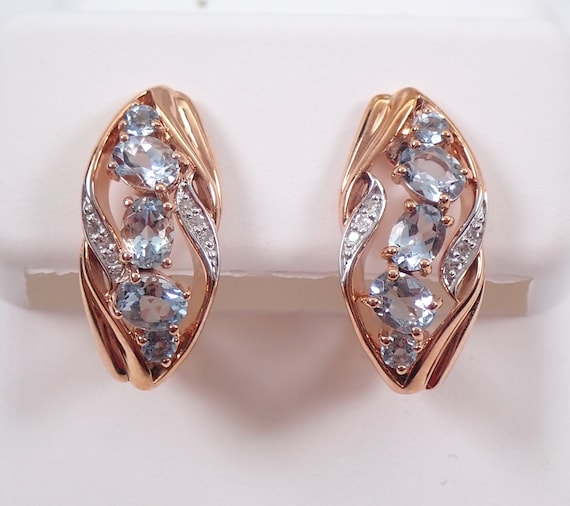 Rose Gold Aquamarine and Diamond Cluster Earrings Euro Hinged Clasp March Gemstone