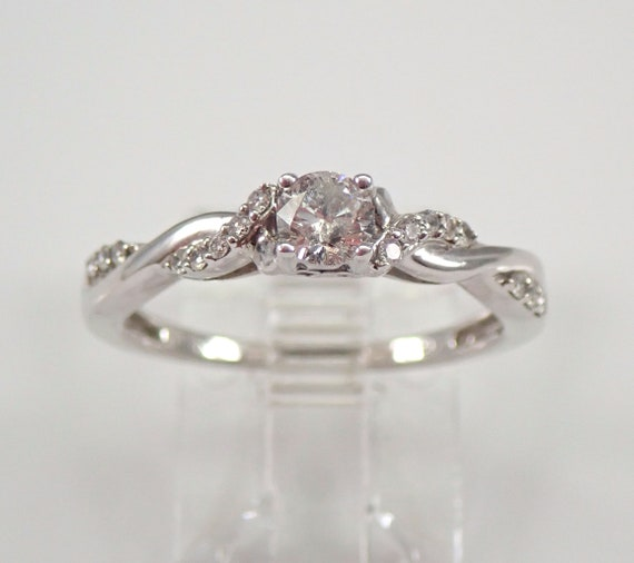 White Gold Diamond Engagement Ring Crossover Design Genuine Natural Size 7
