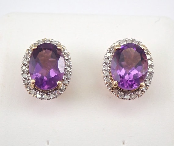 2.15 ct Amethyst and Diamond Stud Earrings Halo Studs 14K Yellow Gold February Birthstone
