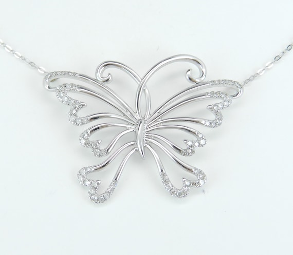 "Diamond Butterfly Pendant 14K White Gold Necklace Chain 17"" Wedding Gift"
