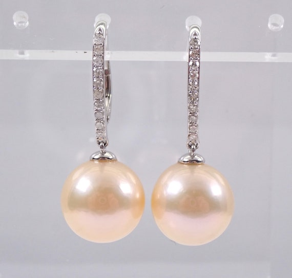 Golden Pearl and Diamond Dangle Drop Earrings 14K White Gold June Birthstone Wedding Gift