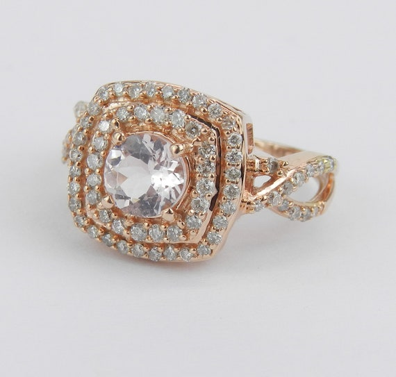 Morganite Engagement Ring, Morganite and Diamond Double Halo Engagement Ring 14K Rose Gold Size 5.5
