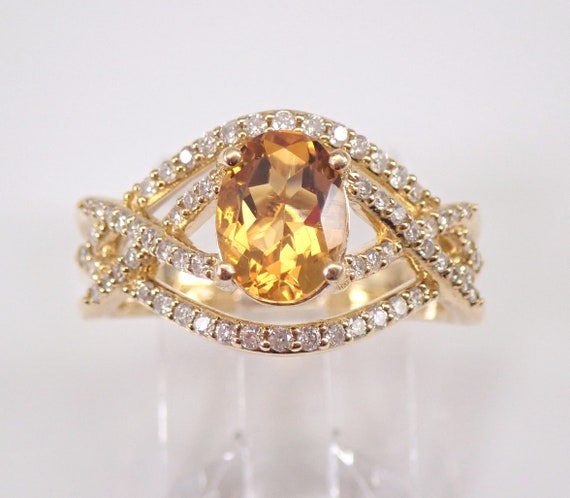 Diamond and Citrine Crossover Engagement Ring 14K Yellow Gold Size 7 November Gemstone FREE Sizing
