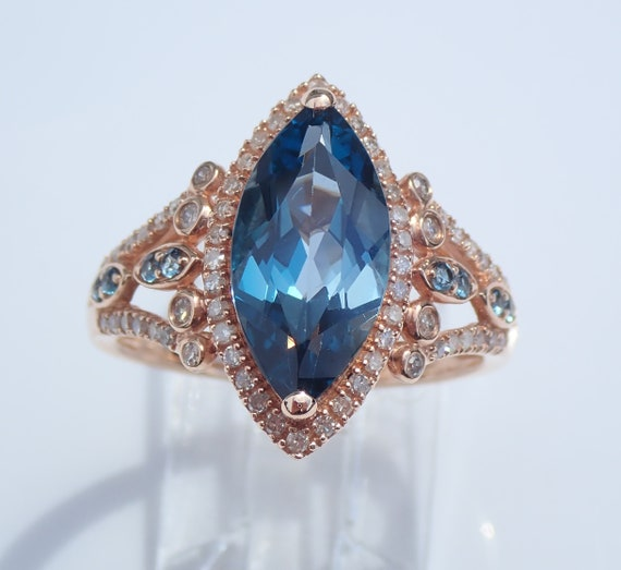 Marquise London Blue Topaz and Diamond Engagement Ring 14K Rose Gold Size 7.25