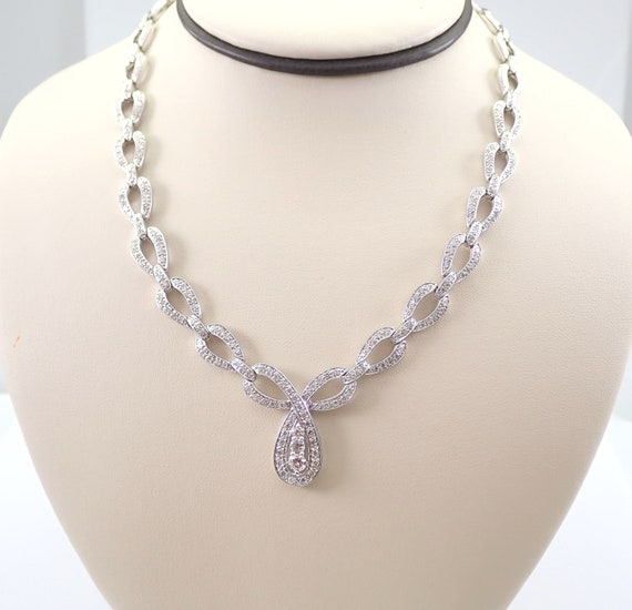 "3.65 ct Diamond Cluster Tennis Necklace 14K White Gold Chain 16.5"" Wedding Gift"