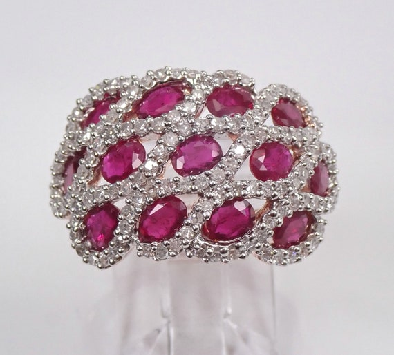Rose Gold 3.35 ct Diamond and Ruby Cluster Ring Anniversary Band July Gemstone