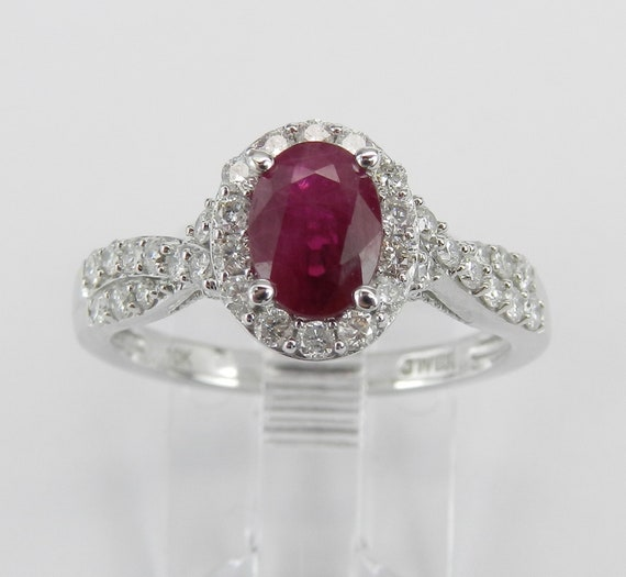 Diamond and Ruby Halo Engagement Ring White Gold Size 7 July Red Birthstone FREE Sizing