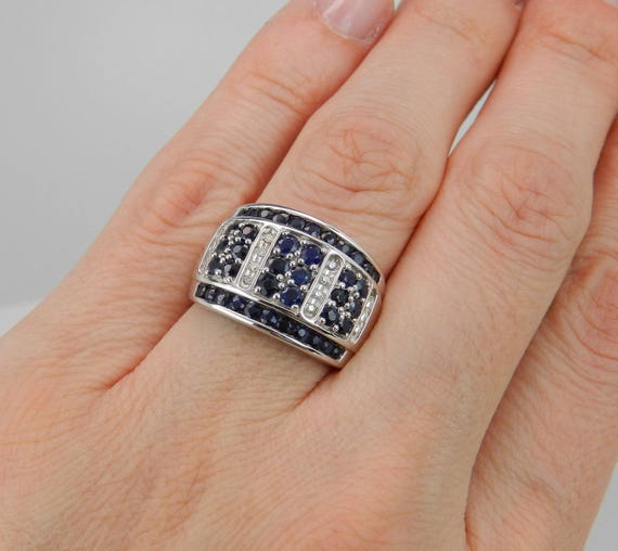 Diamond and Sapphire Ring, Wide Diamond Band, Wide Sapphire Band, Sapphire Anniversary Band, Sapphire Wedding Ring, White Gold Ring, Size 7
