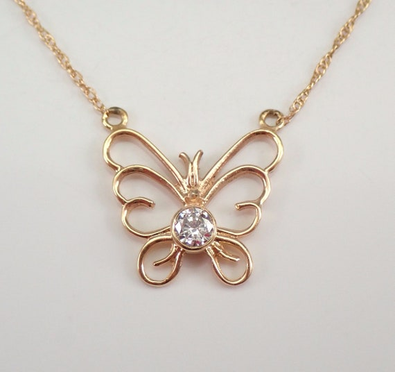 "Diamond Butterfly Pendant 14K Yellow Gold Necklace Chain 18"" Perfect Gift"