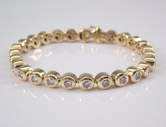 18K Yellow Gold 2.45 ct Diamond Tennis Bracelet  Bezel Set Line Bracelet