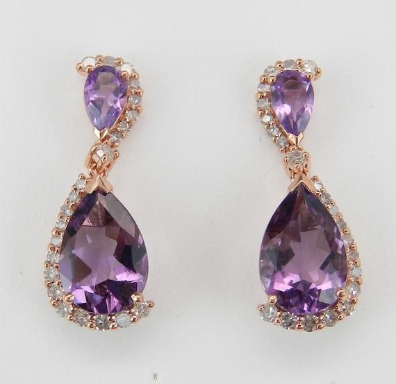 Amethyst and Diamond Dangle Drop Earrings Rose Gold Wedding Gift February Gem